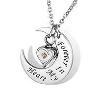 HOUSWEETY 三日月 ムーン メモリアル ネックレス ペンダント アンティーク ハート ダイヤモンド (白-黄色)