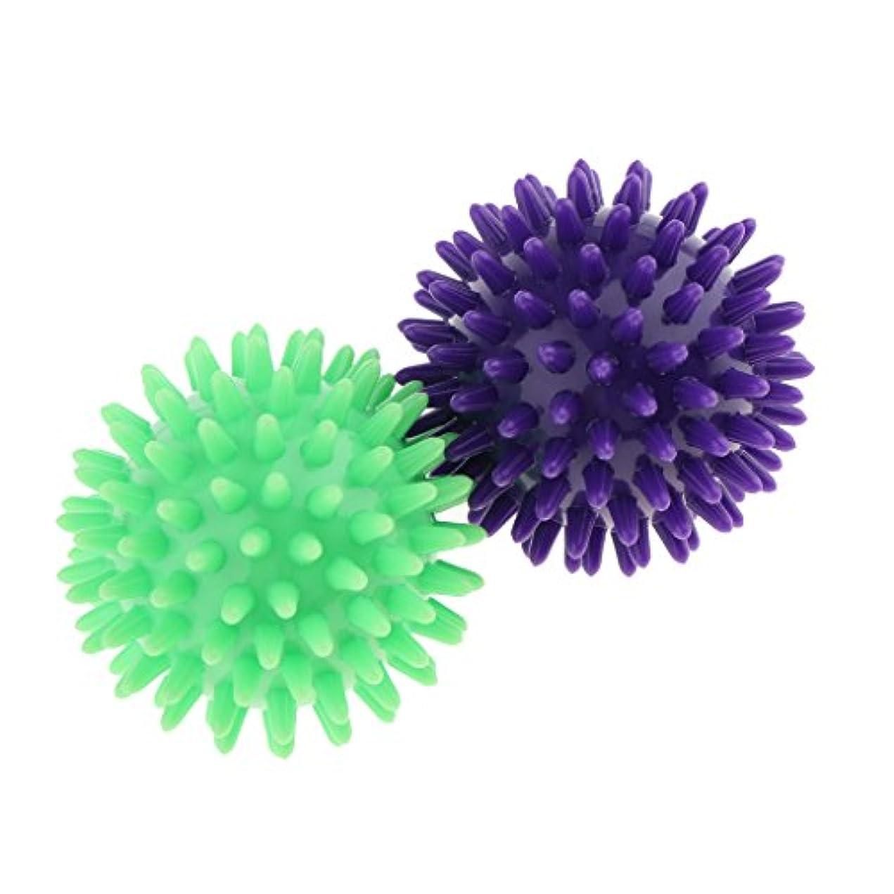テクスチャーレッスン買い物に行くマッサージボール スパイシー マッサージ ボディトリガー リラックス PVC 2個セット 3タイプ選べ - 紫ライトグリーン