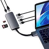 Satechi アルミニウム Type-C デュアル マルチメディア アダプター デュアル 4K HDMI, USB C PD, ギガビットイーサネット, Micro/SD カードリーダー, USB 3.0 (2018 MacBook Air, 2018 Mac Mini対応) (スペースグレイ)