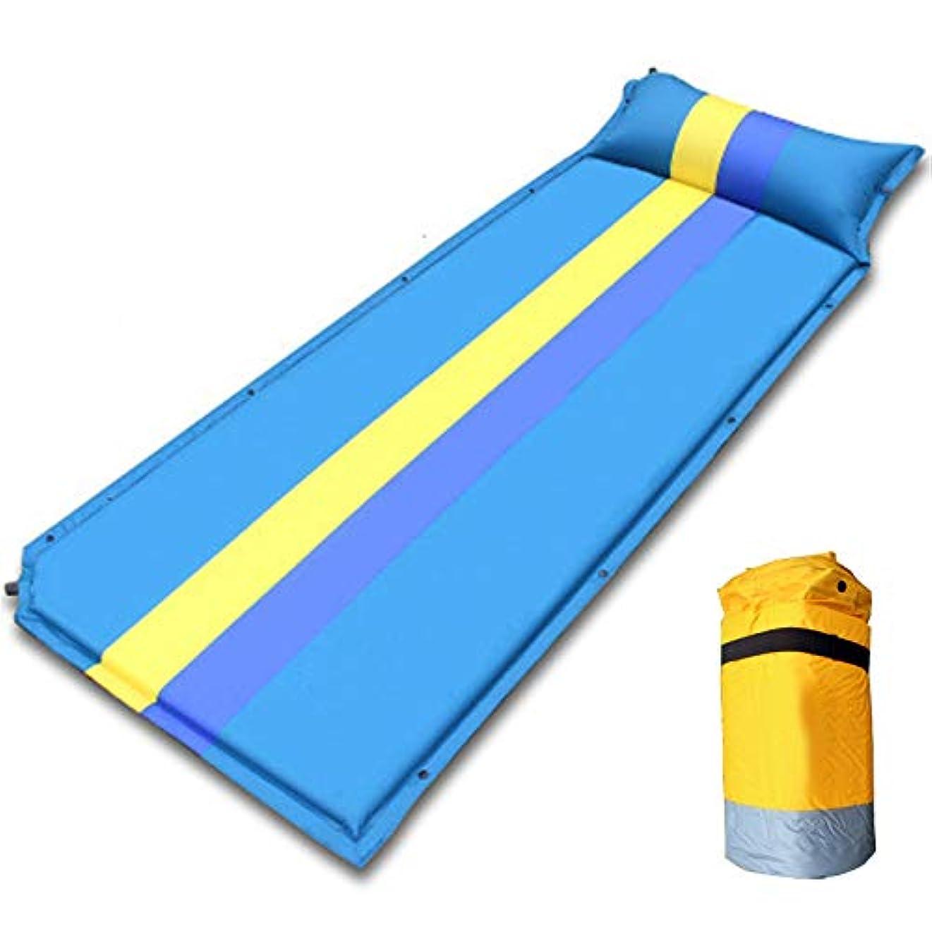 噴水形式悪意のあるシングル自己膨張マットレスコンフォートフォームキャンプマット付き枕軽量キャンプ用エアマットレスハイキングバックパック屋内パーティー