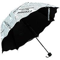 Yumiki 折りたたみ傘 欧米風 おしゃれ ファクション 可愛い プレゼント 晴雨兼用傘 撥水性 紫外線遮蔽 英字 8本骨 個性 男女兼用 (A)