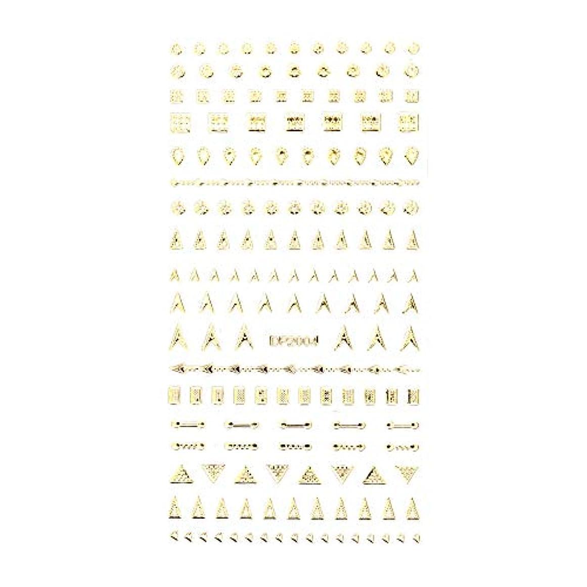 ごめんなさいセッティング米国ネイルシール デザインパーツ風シール ゴールド【DP2004】【タイプ4】ネイルアート スクエア レクタングル トライアングル くり抜き フレーム