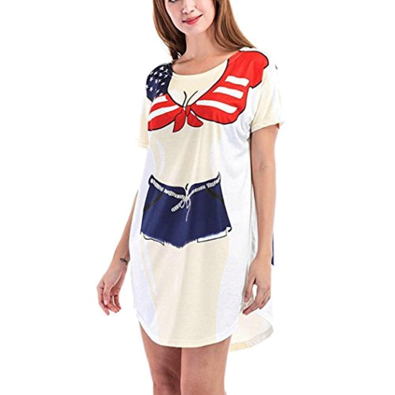 LZE_ レディース ビキニ 印刷 ルーズ ビーチブラウススカート 半袖 ラブリー ビキニプリントルーズドレス楽しい着用カバービーチドレス