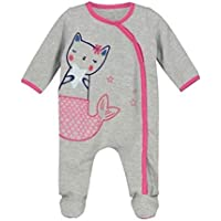 Unisex Baby Overall Grey Mer-Cat Print with Built-in Shoes (3 Months)
