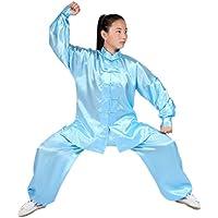 KINDOYO メンズ レディース 長袖 武術服 太極拳服 上下セット 唐装 功夫服 練習 演舞用, ホワイト