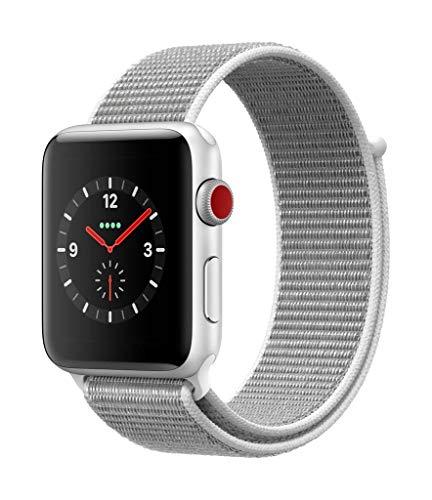 Apple Watch Series 3(GPS + Cellularモデル)- 42mmシルバーアルミニウムケースとシーシェルスポーツループ