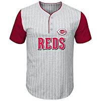 MLB Majestic Cincinnati Reds Gray/Red Big & Tall Pinstripe Henley T-Shirt Tシャツ(メジャーリーグファングッズ)【並行輸入品】
