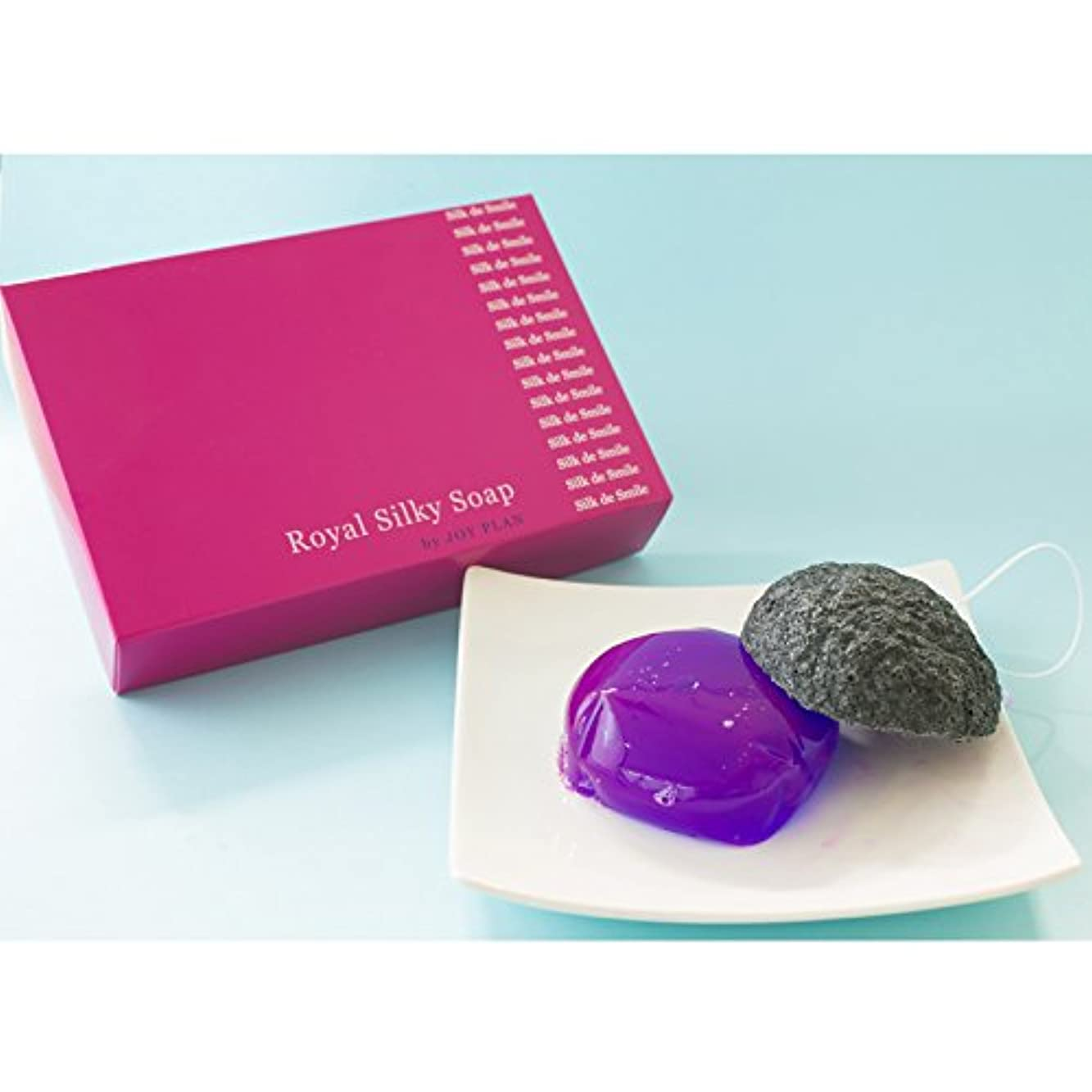 減衰かる役立つ蒟蒻シルク洗顔石鹸「シルク デ スマイル」ローズ洗顔石鹸、蒟蒻パフセット