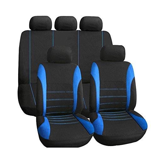 KKmoon カーシートカバー ユニバーサルスタイリング 前部座席+ 1後部後部+ 1後部座席+ 5ヘッドレスト ブラック+ブルー...