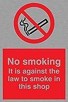 バイキングサインPS985-A4P-MS「禁煙です。当店で喫煙するのは法律に違反します」サイン、ステンレス、マリングレード、300 mm H x 200 mm W