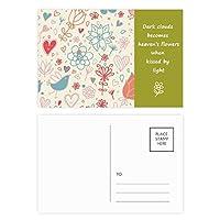 鳥の花の植物のペイント 詩のポストカードセットサンクスカード郵送側20個