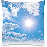 可愛い 子供 空と雲の背景 座布団 45cm×45cm