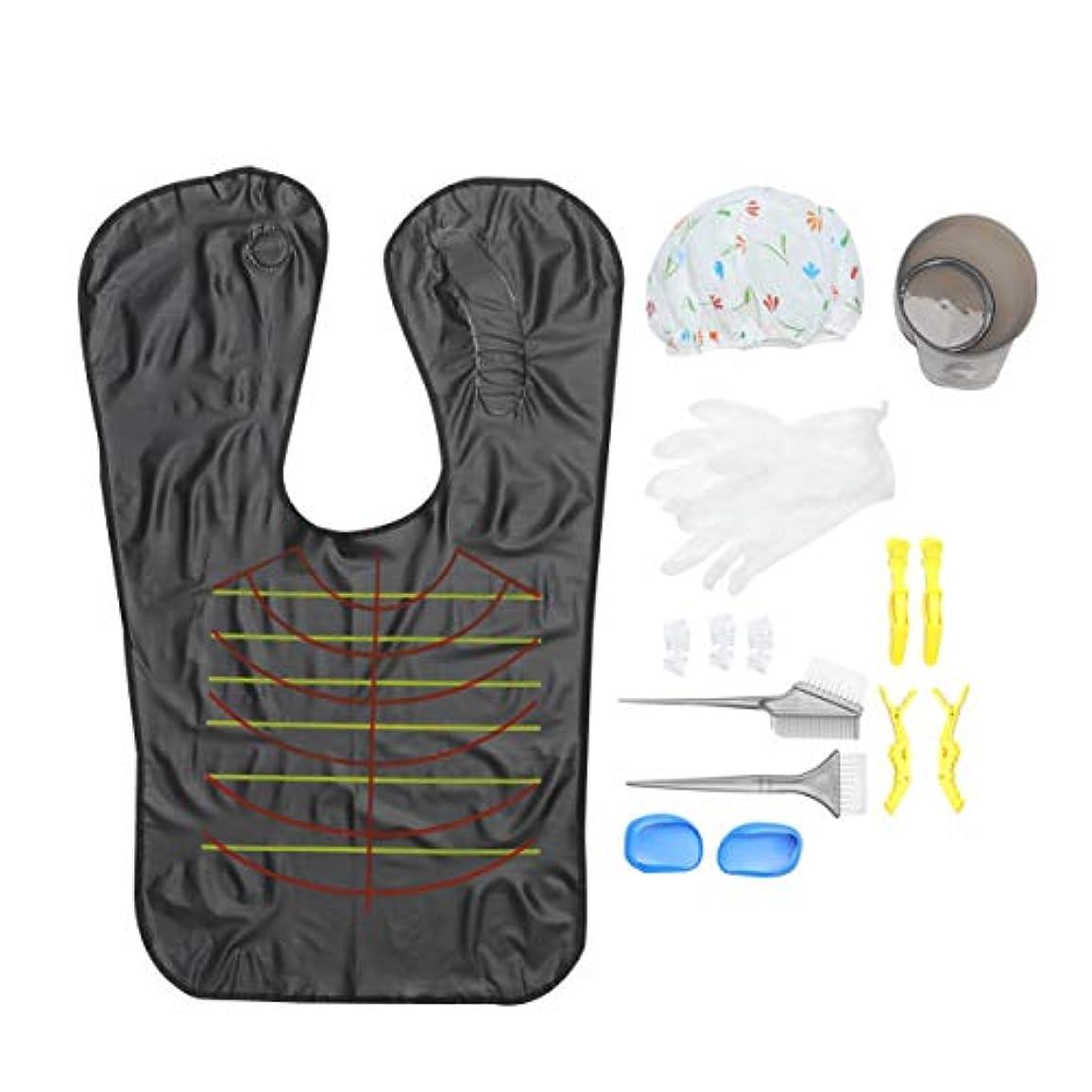 臨検葉巻小康Minkissy ヘアダイキットミキシングボウルコームブラシイヤーキャップ手袋ケープシャワーキャップ着色ツール使い捨て1セット