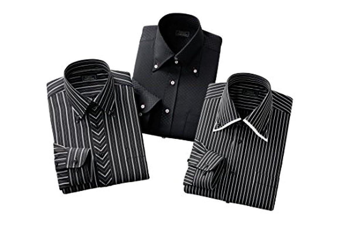 暗い緩やかなすなわち形態安定 長袖 ワイシャツ 3着セット レギュラータイプ Lサイズ 裄丈84cm ブラック 紳士 メンズ おしゃれ ビジネス Yシャツ 通販 プレゼント 父の日 3着 セット 41-84 50390-L