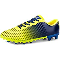 Yong Ding Unisex Football Shoes Low Top Stripe Gradient Leather Turf Trainers for Soccer Competition and Professional Training