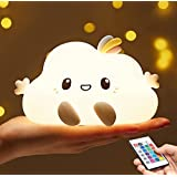 Kids Night Light,Cute Cloud Nursery Baby Toddler Portable Remote Control Lamp Squishy Soft Led Silicone Color Changing Glow B