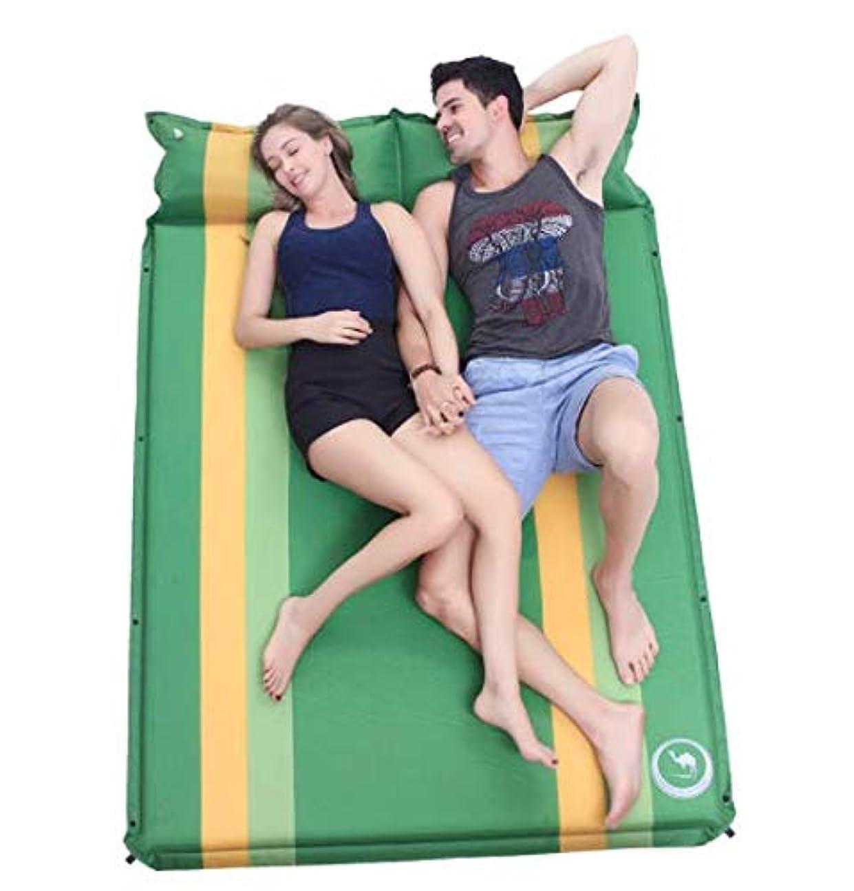 直立財産石化する屋外の自動インフレータブルクッションダブル屋外の寝袋肥厚拡大テントマットフロアマットキャンプマット (Color : グリンー)