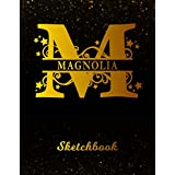 Magnolia Sketchbook: Letter M Personalized First Name Personal Drawing Sketch Book for Artists & Illustrators | Black Gold Space Glittery Effect Cover | Scrapbook Notepad & Art Workbook | Create & Learn to Draw