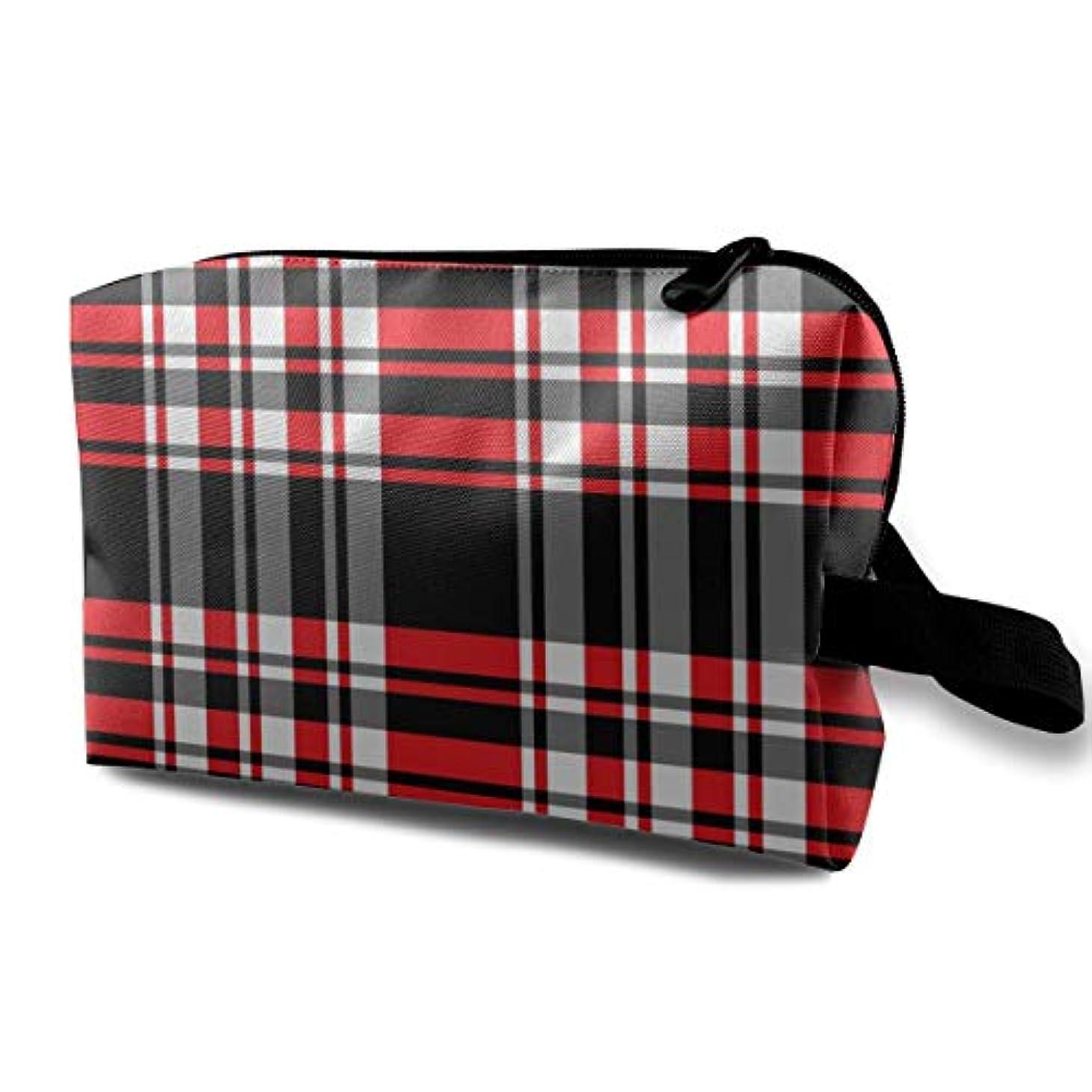 カメラ西ヒントPlaid Red Black Stripes 収納ポーチ 化粧ポーチ 大容量 軽量 耐久性 ハンドル付持ち運び便利。入れ 自宅?出張?旅行?アウトドア撮影などに対応。メンズ レディース トラベルグッズ