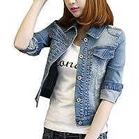 zhaoabao-AU Womens 3/4-Sleeve Botton Up Slim Fit Denim Jacket Coat