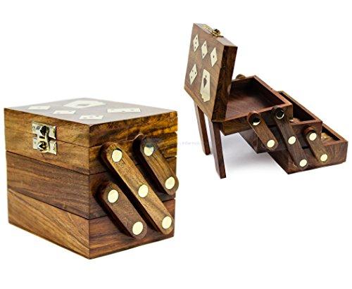 木製Craftedマルチゲームボックス|カード| Domino |サイコロ|木製ケース|古い学校ギフトゲーム| Nagina International