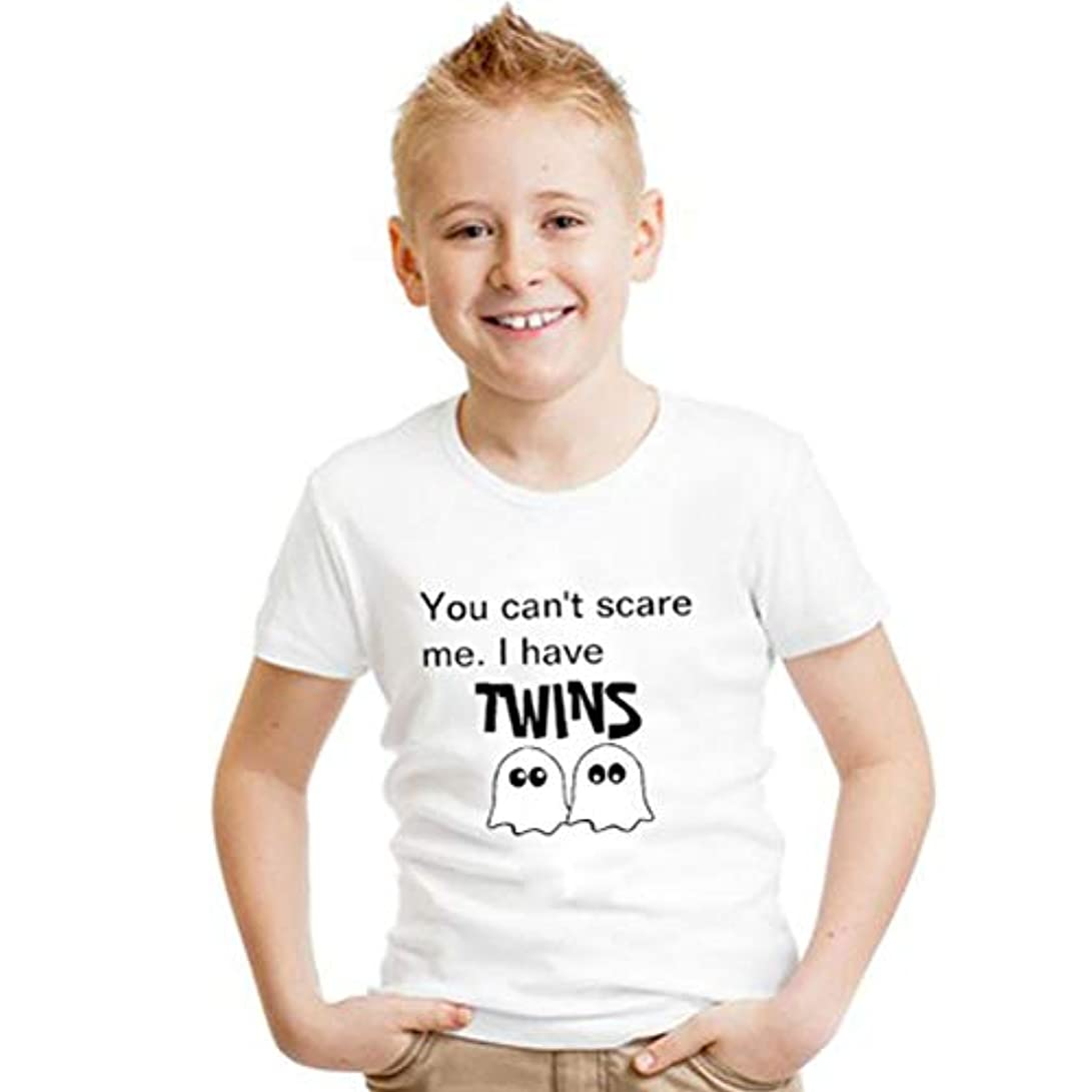 局義務モーテルハロウィン ファッション 個性 ゴースト アルファベット プリント 子供 Tシャツ 半袖 ホワイト 綿
