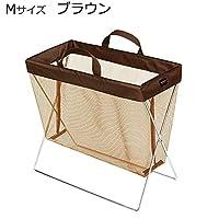 持ち手付きの手荷物入れ。 日本製 SAKI(サキ) サイドワゴン 持ち手付き メッシュ Mサイズ R-352 ブラウン 〈簡易梱包