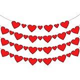 KatchOn フェルトハートガーランドバナーデコレーション – 40個パック、事前に張り上げ済み   大小レッドペーパーフェルトガーランド   バレンタインデーのデコレーション用品、記念の背景や結婚式に最適   4弦