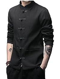 Keaac 中国のスタイルのメンズロングスリーブボタンジャケットoutcoatカエル