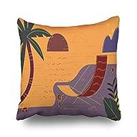 Qrriy Custom Beach Summer Holidays Nature Throw Pillow Covers Decorative Pillowcases 20x20 Inches Square Home Decor Zippered Design Cushion Cases 枕,抱き枕カバー,枕カバ,実用的である