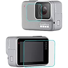 HEYUS Screen Protector for GoPro Hero 7 (2018) White/Silver, Premium 9H Hardness Tempered Glass Screen Protector Front + Back Glass Lens Protector Film for Go Pro Hero7 White/Silver