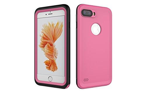 Iphone 7 Plus 防水電話ケースは、HBER IP68完全密閉水泳ダイビング水中防塵耐雪性の耐震ヘビーデューティケースカバーは、iphone7 plusのために敏感な画面タッチ指紋認証ロック解除をサポートしています (ピンク)