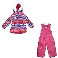 Weatherproof 32 Degrees Girls 2-Piece Jacket & Snow Bib Set (3T, Fuchsia Blanket Print)