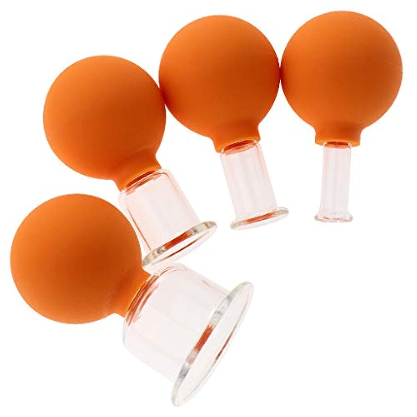 宙返り欠伸ワイヤーボディヘッドネック用4バキュームマッサージカップアンチセルライトガラスカップのセット - オレンジ