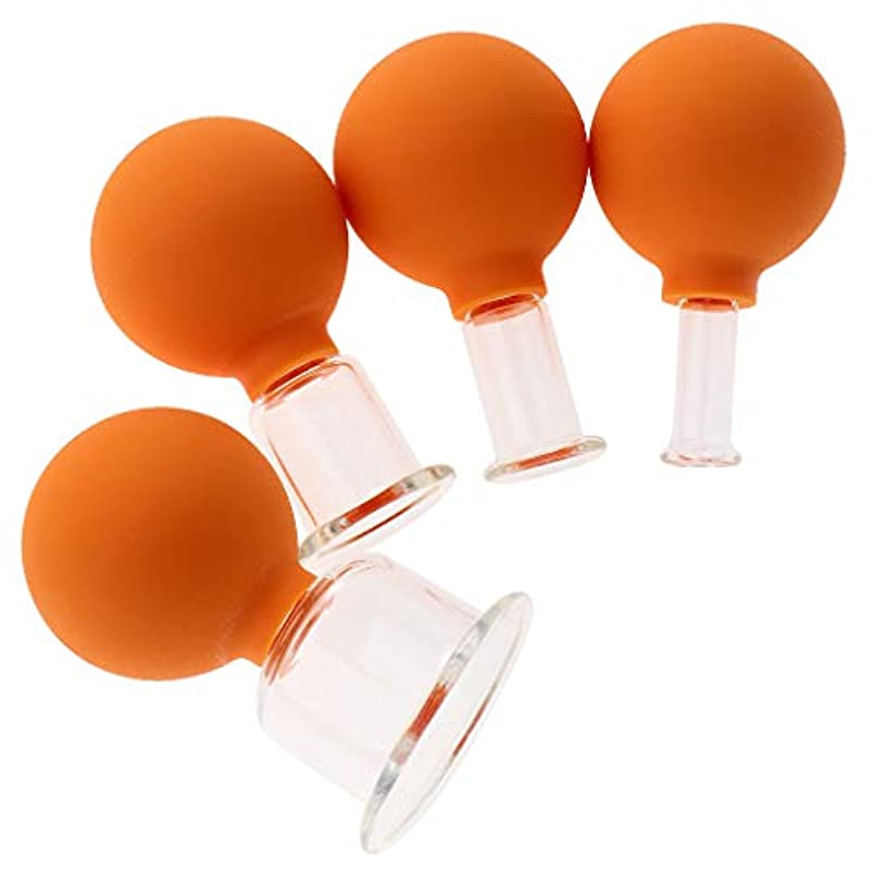 手荷物公爵初心者ボディヘッドネック用4バキュームマッサージカップアンチセルライトガラスカップのセット - オレンジ