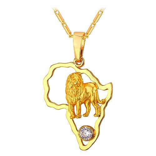 [해외]U7 목걸이 펜던트 남성 아프리카지도 사자 사자 지르코니아 힙합 K18 금 [P1946]/U7 necklace pendant men`s map of africa lion lion zirconia hip hop K18 gold plating [P1946]