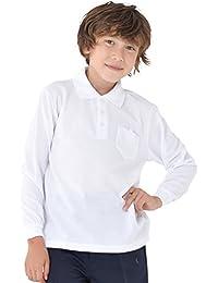 児童 子供 長袖 スクール ポロシャツ 白 キッズ 鹿の子 ポロ 男女兼用 小学生 制服 ホワイト