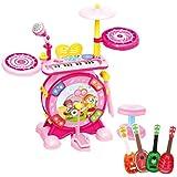 HXGL-ドラム ドラムパーカッション楽器玩具ギフトボーイガールスモールギター (色 : Pink)