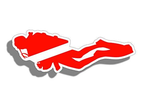 シルエットScuba Diver Down国旗ステッカーDi...