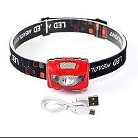 ZAIHW 充電式LEDヘッドトーチ、スーパーブライトインダクションLEDヘッドランプ、3モード、キャンプ用最高のヘッドライト、ハイキング、ジョギング、ランニングフィッシング、キッズ (色 : Red)