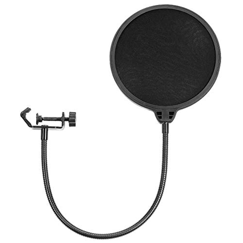 全能説得刃LITI ポップブロッカー 二重張り ノイズ防止 ネット直径15.5cm 二重防じんカバー 録音時の雑音除去に最適 ブラック