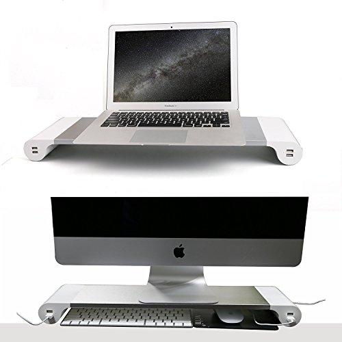 OYISIYI モニタスタンド 机上台 アルミニウム製 キーボード収納 USBポート&電源タップ付き ノートパソコン ラップトップ iMac Macbookなどに対応 シルバー