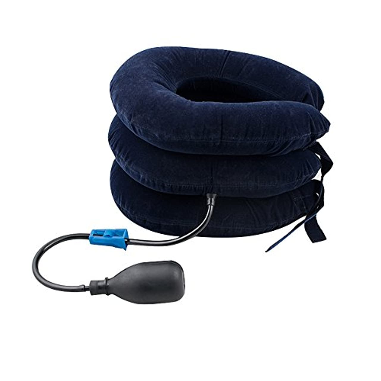 音節トランク任命Finlon 3段式エアーネックストレッチャー 頚椎牽引 首伸ばし 首 肩こり 解消 首サポーター 首筋用 エアーパッド 軽量 枕 クッション マッサージ フリーサイズ (ネイビー)