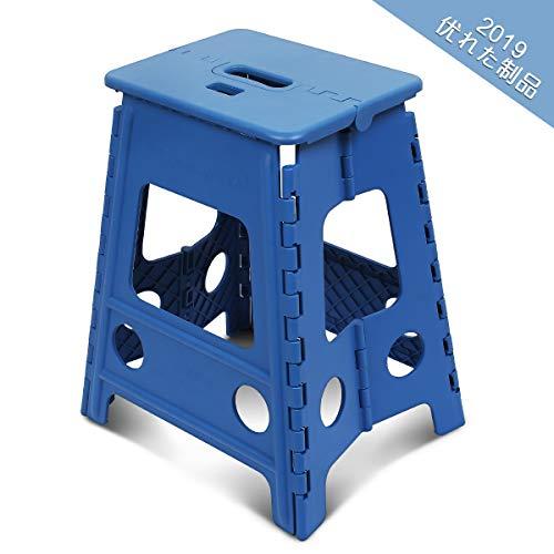 踏み台 SZHTFX 折り畳み ステップ コンパクトスツール 脚立 丈夫で十分安全 大人/子供兼用 折りたたみはしご 簡単収納/開封 キッチン トイレ キャンプ用 (ブルー, 高さ32cm)