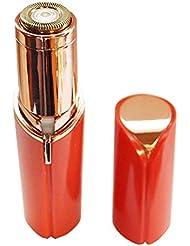 REONAS レディースシェーバー フェイスシェーバー 小型 携帯 女性 顔そり ムダ毛処理 電池式 LEDライト付き 掃除用ブラシ付き 電池付き (ピーチ)
