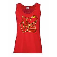 女性ノースリーブタンク愛について引用符 -わたしは、あなたを愛しています贈り物 (L 赤多色)