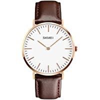 Men's Dress Wrist Watch Casual Classic Stainless Steel Quartz Wrist Business Analog Watch with 40mm Case, Replaceable Brown Leather Band and Thin Dial
