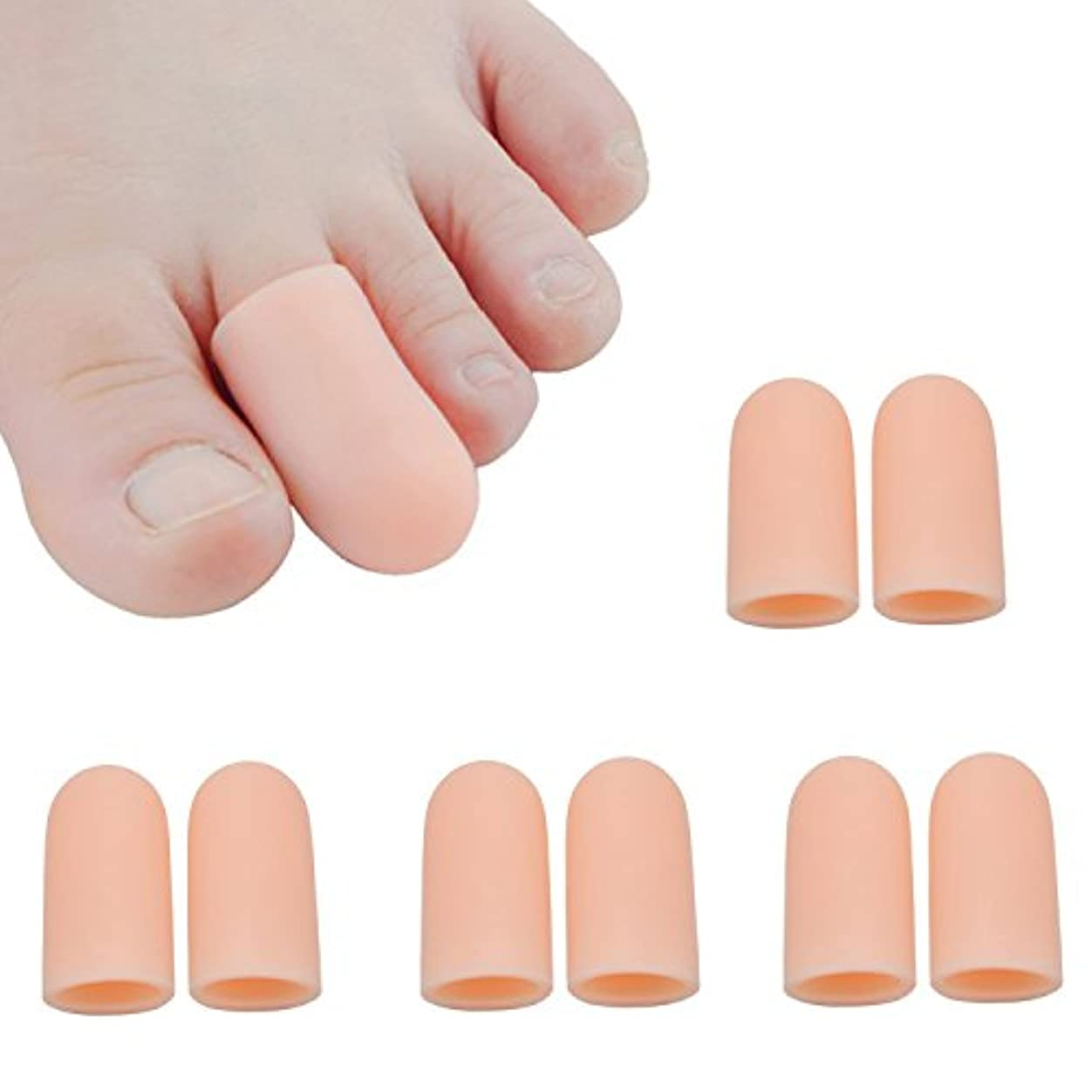 真っ逆さま小間押し下げる足指保護キャップ つま先プロテクター 足先のつめ保護キャップ シリコン (肌の色)