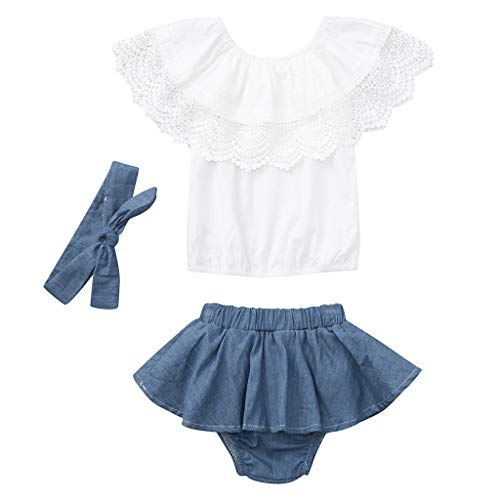 e5e58e1baf6 ベビー服 ガールズ 無地 ラッフルズ ロンパース+花柄スカート+ヘッドバンド 3セット 可愛い 赤ちゃん