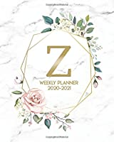 2020-2021 Weekly Planner: Monogram Initial Z Two Year Weekly Planner & Organizer - Floral Daily 2 Year Agenda With To-Do's, Inspirational Quotes, Notes & Vision Boards - Elegant Marble & Gold